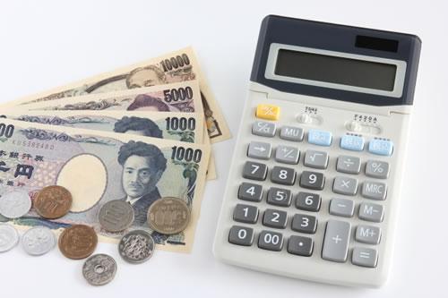 紙幣と硬貨と電卓